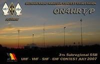 QSL ON4HRT-P SUBREGIONALE UHF-VHF-SHF CONTEST 7-8-07-2007-ON6DSL